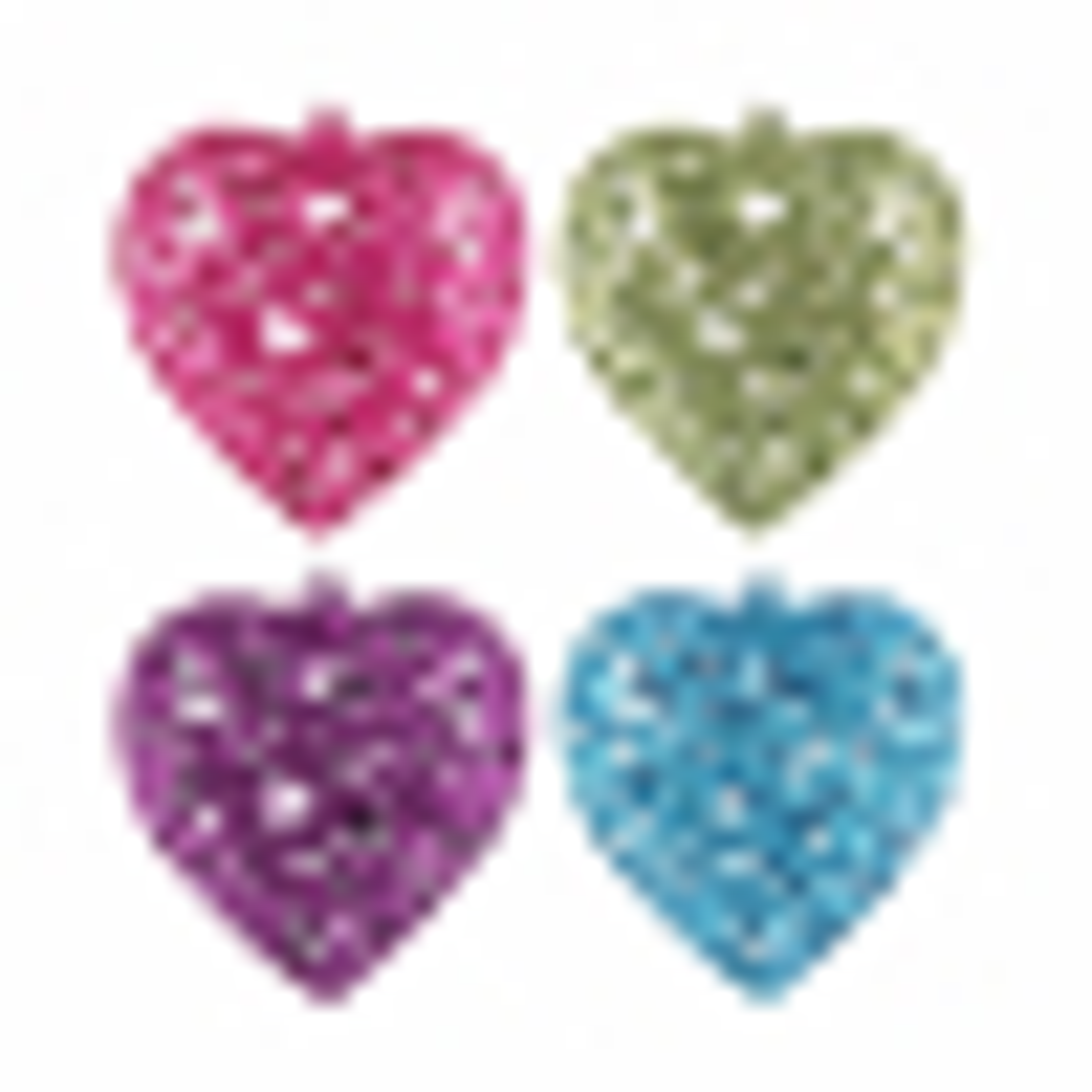 Glitter Christmas hearts 7,5cm multi colour mix 4 pieces