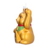 Maneki-neko Glass Hanging Figurine 10.5cm Gold