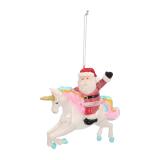 Hanger Santa on unicorn multicoloured glass 12 cm