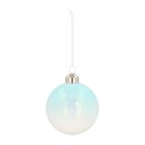 Unique Glass Christmas Bauble Ice Splinters 8cm Lightblue-White