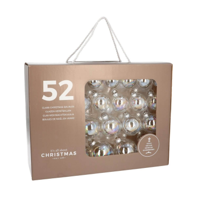 Box of 52 Clear Iridescent Glass Baubles, 4-7 cm