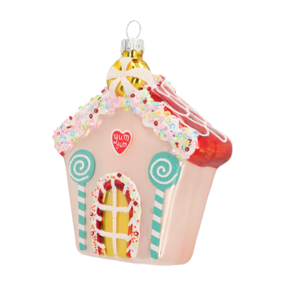 Hanger candy house silver glass 12 cm