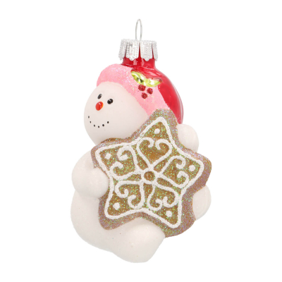 Hanger snowman with gingerbread white glass 9 cm
