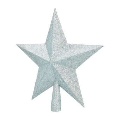 Christmas tree topper in soft blue with glitters