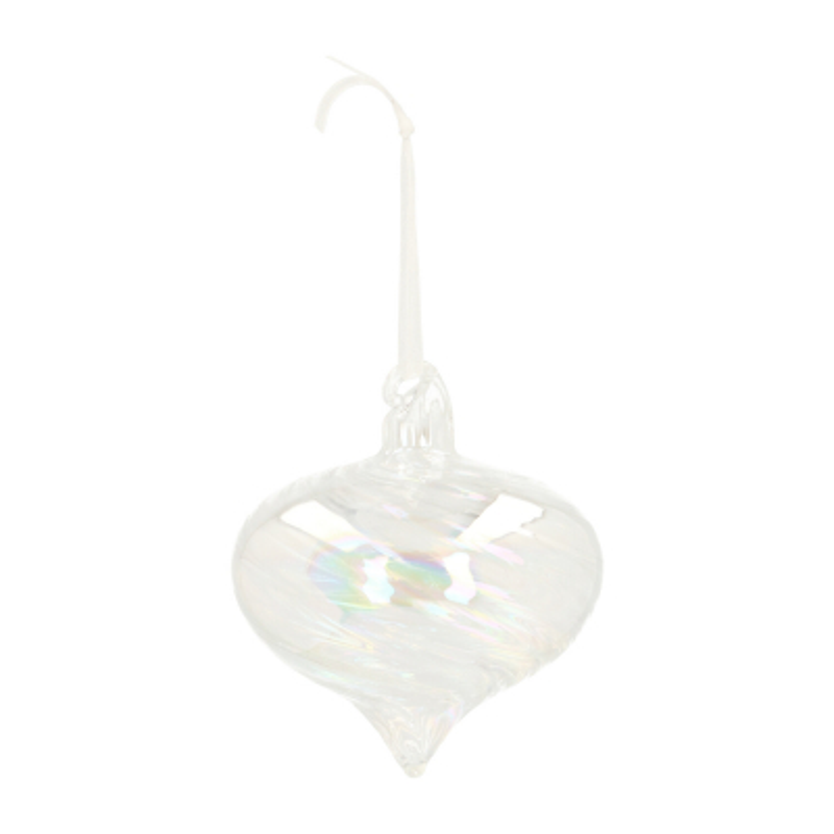Luxury glass bauble onion geometric 8cm transparent