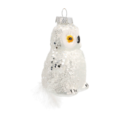 Glass hanger owl with glitters 10cm white