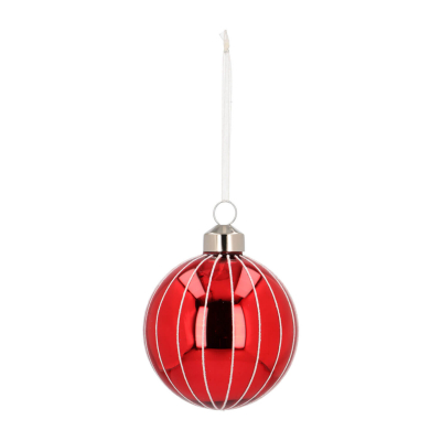 Elegant Glass Christmas Bauble with Fine Lines 7cm Red-White