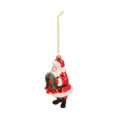Hanger Santa with wreath red glass 14 cm