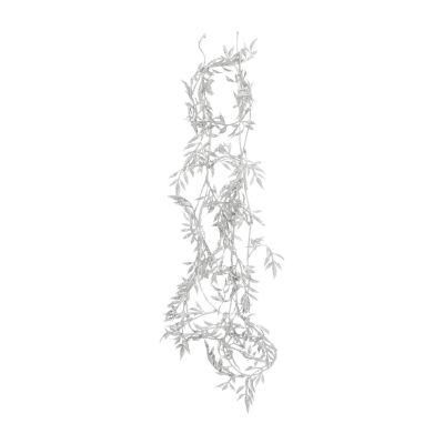 Glitter garland with leaves 260cm silver