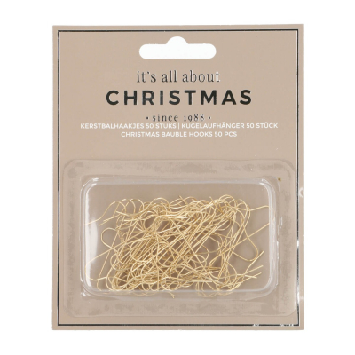 Christmas bauble hooks 50 pieces gold S-shape