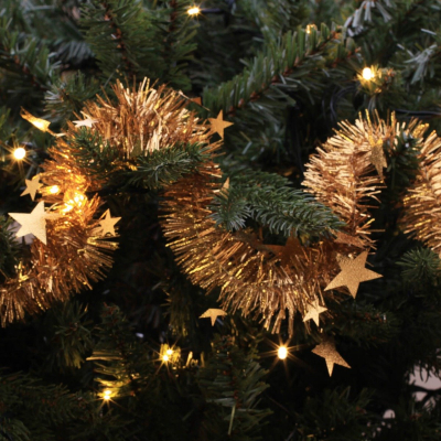 Christmas garland with stars copper 270x6cm embossed