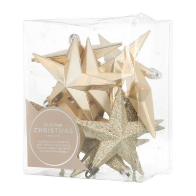 12 shatterproof Christmas baubles 10cm champagne