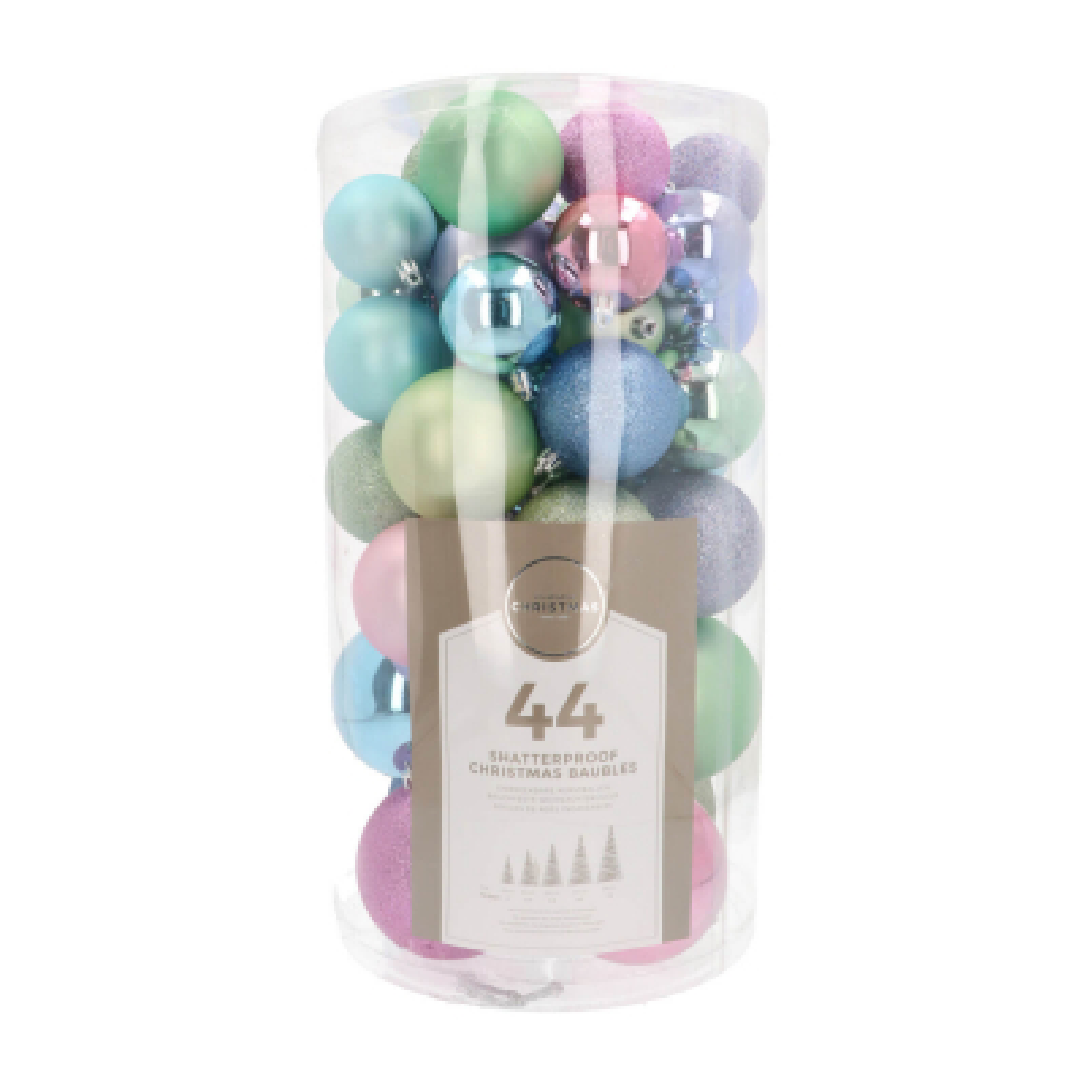 Set of 44 Pastel Mix Shatterproof Baubles, 6-10 cm