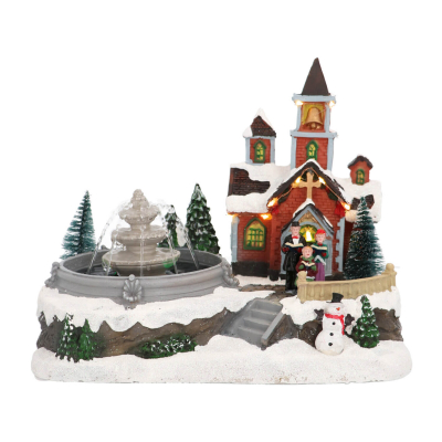 Red church with real fountain, LED & Sound 30 cm