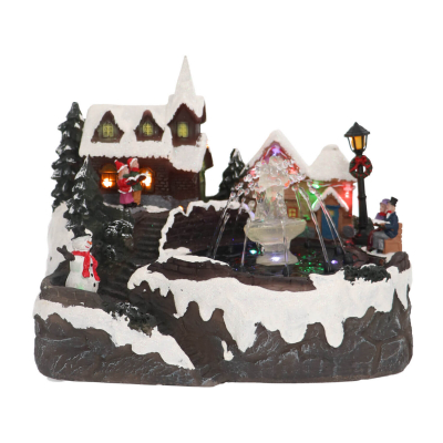 Christmas House with Real Fountain, LED & Sound, 27,5cm