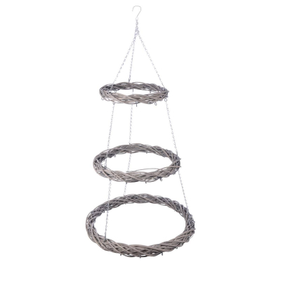 3 layer rattan hanging wreath 70 cm gray