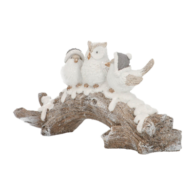 Two birds with owl on branch 16,5cm polyresin