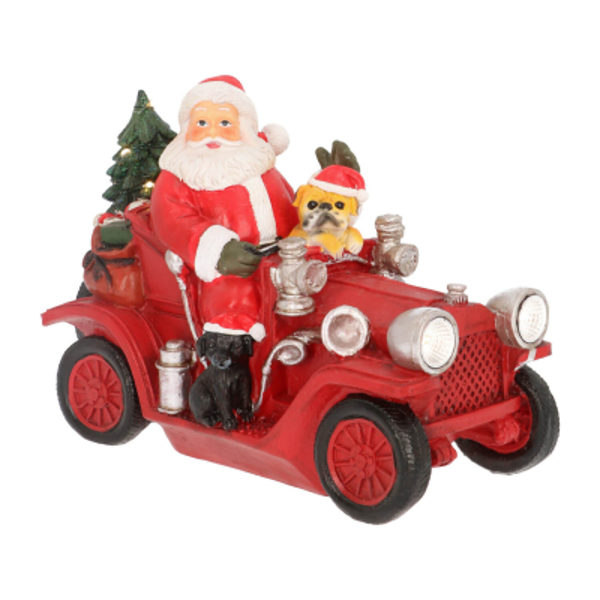Santa with dog in car 18cm LED polyresin