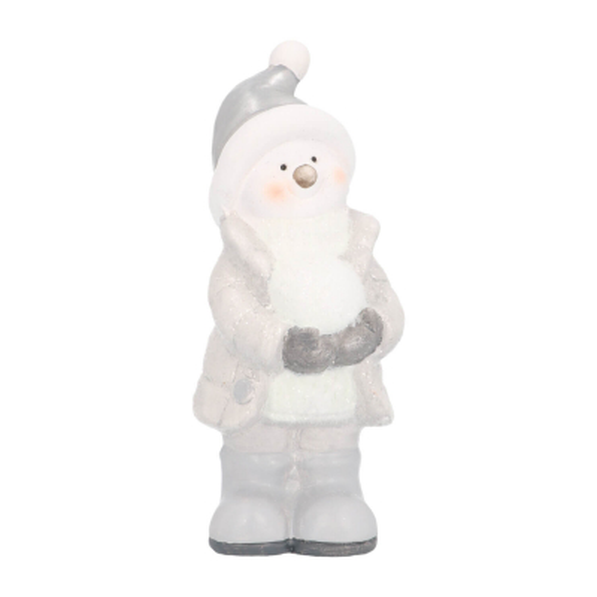 Snowman with snowball 19cm ceramic