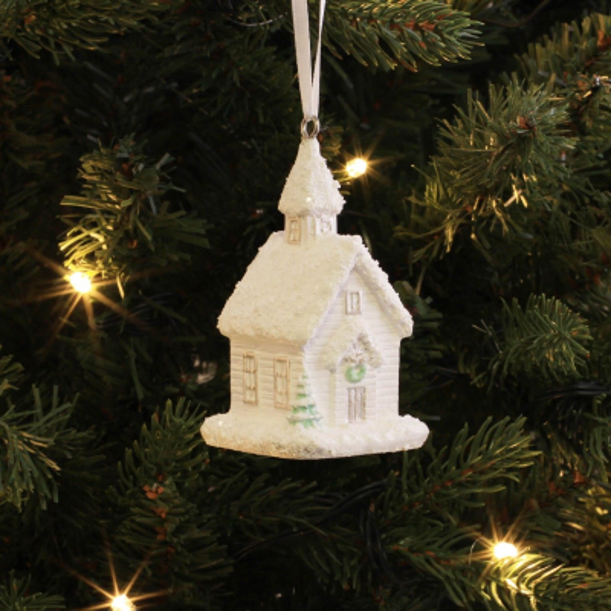 Unique Christmas hanger Christmas house 8.5cm white