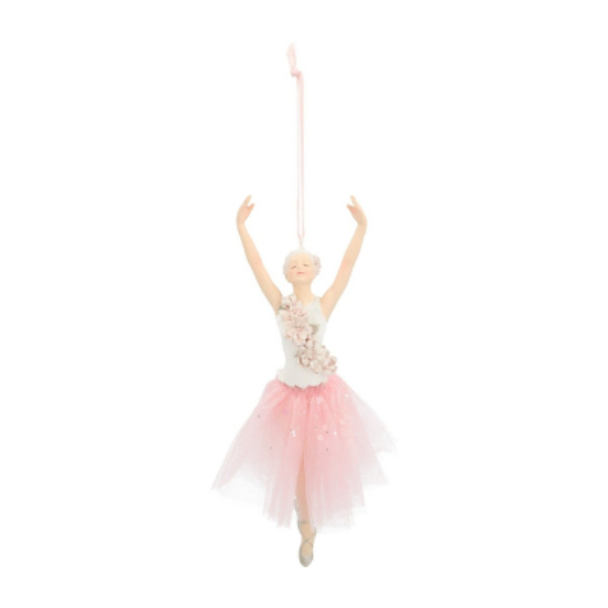 Unique Christmas hanger ballerina with pirouette 18cm white