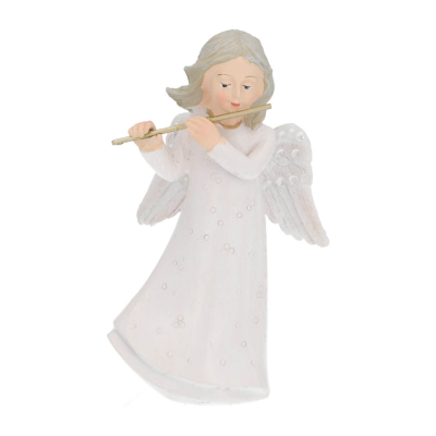 Angel with flute 11cm white