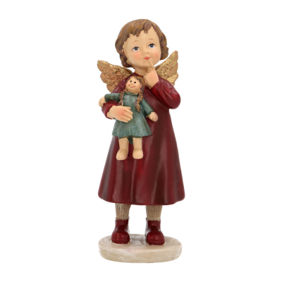 Unique hanger angel with doll 15cm red