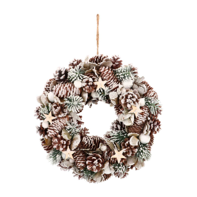 Natural Christmas Wreath with Stars 34cm