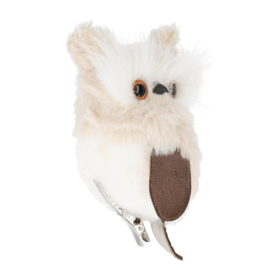 Owl on clip 12cm grey/white