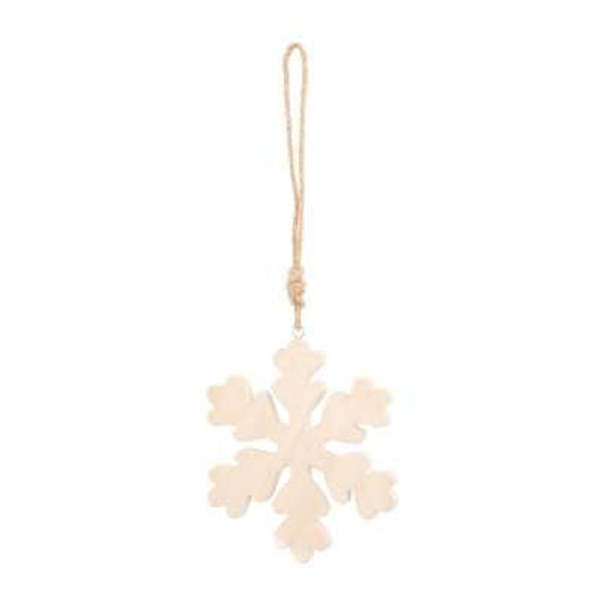 White wash wood snowflake Christmas hanger 13cm