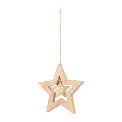 Wood star with star Christmas hanger 12cm champagne