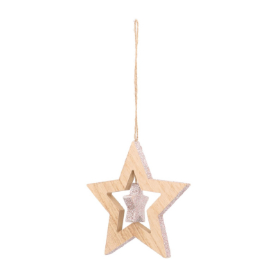Wood star with star Christmas hanger 12cm soft pink