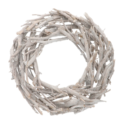 Christmas wreath branches white washed with candle holder 48cm