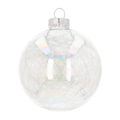 Glass Christmas Bauble Soap Bubble Effect & Iridescent Ribbon 8cm