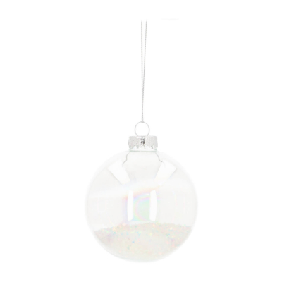 Glass Christmas Bauble Soap Bubble Effect & Iridescent Glitters 8cm