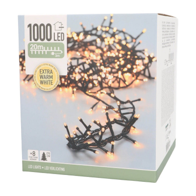 Micro cluster verlichting buiten 20m 1000 LED extra warm wit