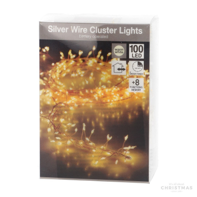 100 LED warm white outdoor battery cluster fairy lights