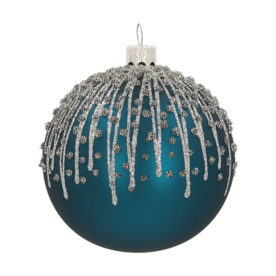 Unique Christmas bauble petrol with icicles 8 cm