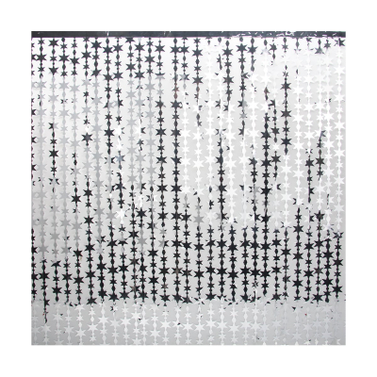 Decorative curtain with stars silver 240cmx90cm shiny