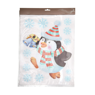 Window sticker with a pinguin with a bel 40x29,5cm