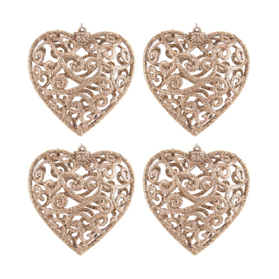 Glitter Christmas hearts 7,5cm champagne 4 pieces
