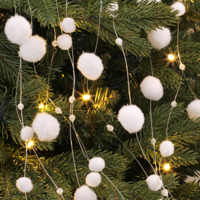Snowball garland 120cm white large and Small snowballs