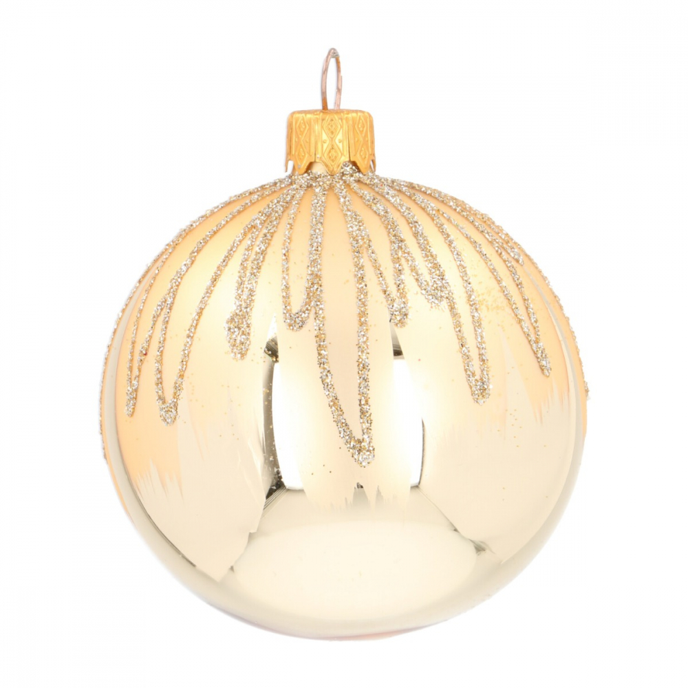 Unique Christmas bauble champagne with icicles 7 cm