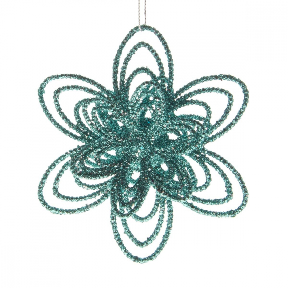Christmas flower with glitter - Ice blue - 12cm