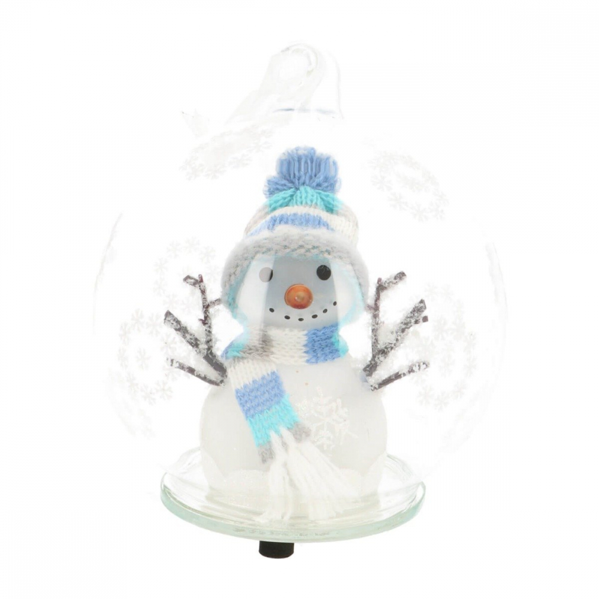 LED Snowman in glass bauble - 10cm - Light blue