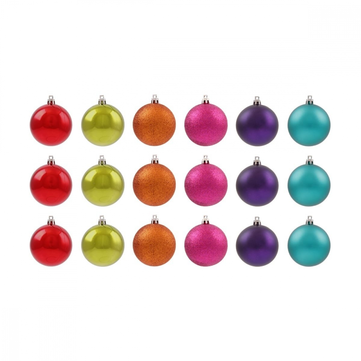 24 shatterproof Christmas baubles multi colour mix 2.5 cm
