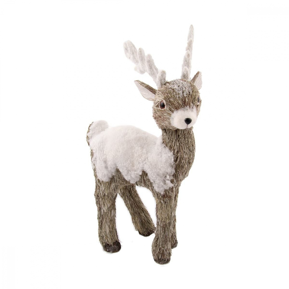 Reindeer with snow - White - 53cm