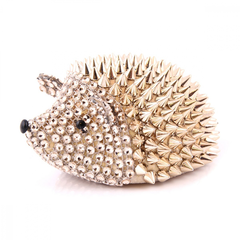 Hedgehog with studs - 13,5cm - Champagne