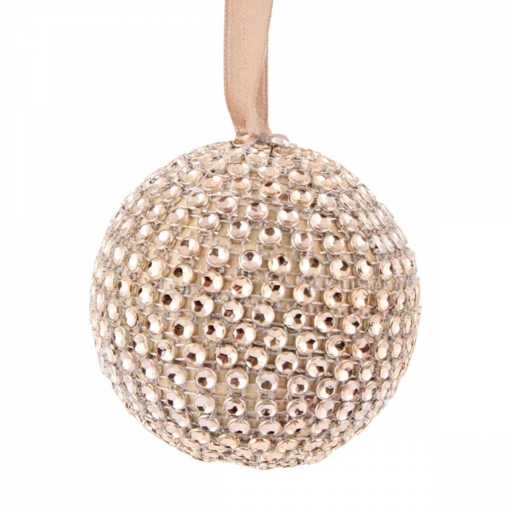 Christmas bauble with Diamonds - 7,5cm - Champagne