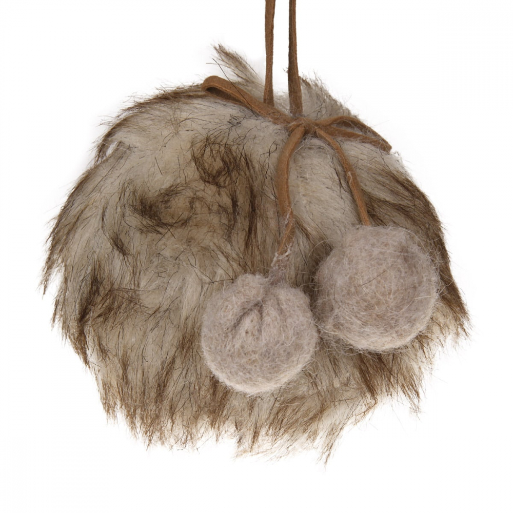 Christmas bauble Fluffy brown 9 cm